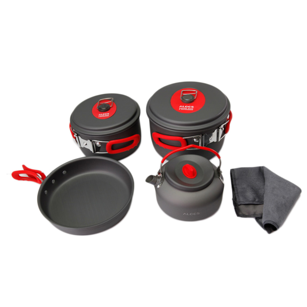 3-4 Person Cooking Pot Camping Cookware Outdoor Pots Frying Pan Kettle Set kingcamp hard anodized aluminum 6 pcs camping cookware includes pots
