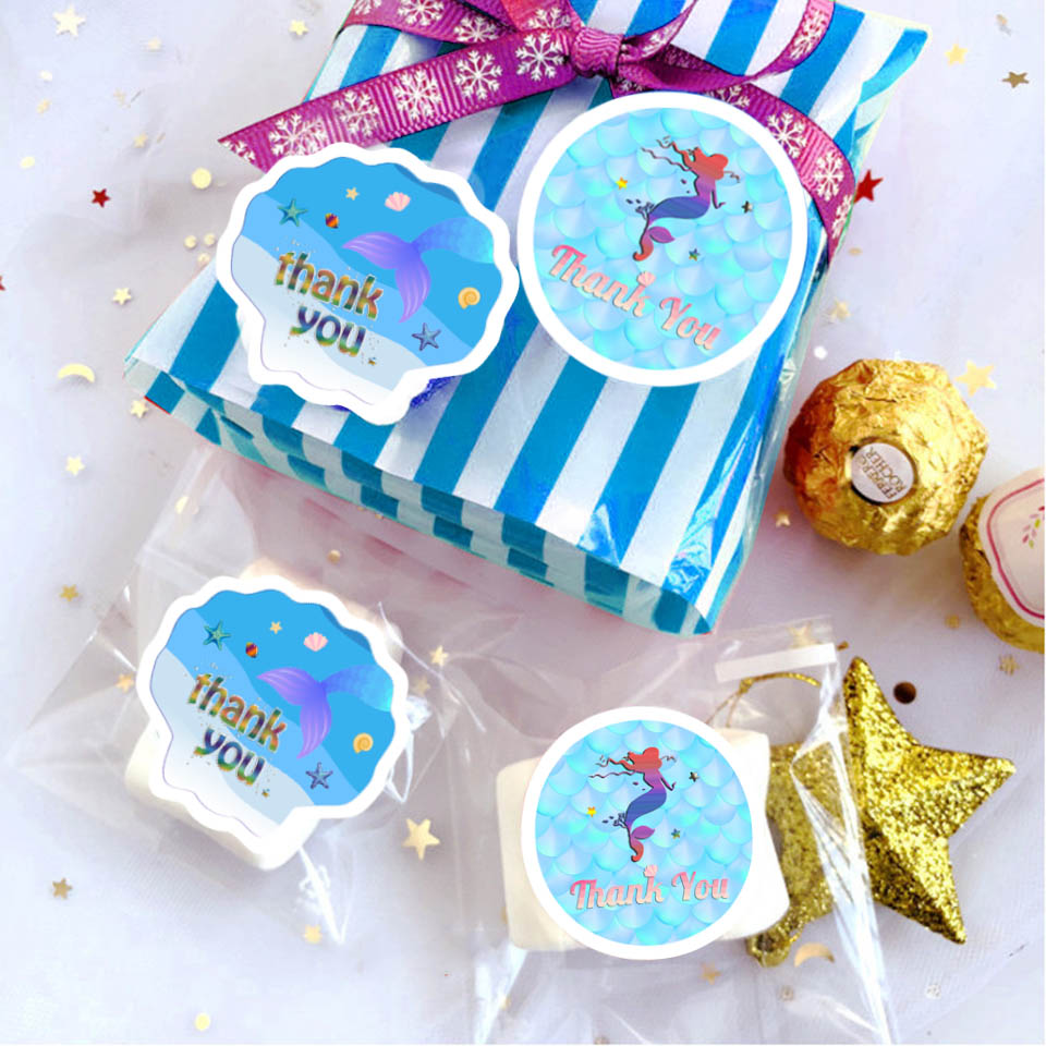 Mermaid party stickers (6)