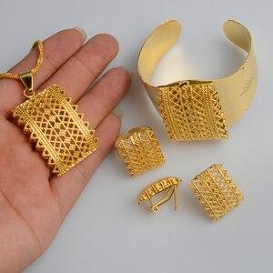 Image 2 - Anniyo ensemble de couleurs or éthiopien, nouveau, pendentifs, colliers, boucles doreilles, bague bracelet, bijoux Habesha, cadeaux de mariage érythréen, #056502