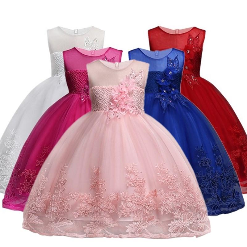 Flor Meninas vestidos para o Ano Novo roupas de Festa Meninas Do Bebê Sem Mangas Grande Arco Vestido de Casamento Da Princesa Crianças Vestidos de Festa
