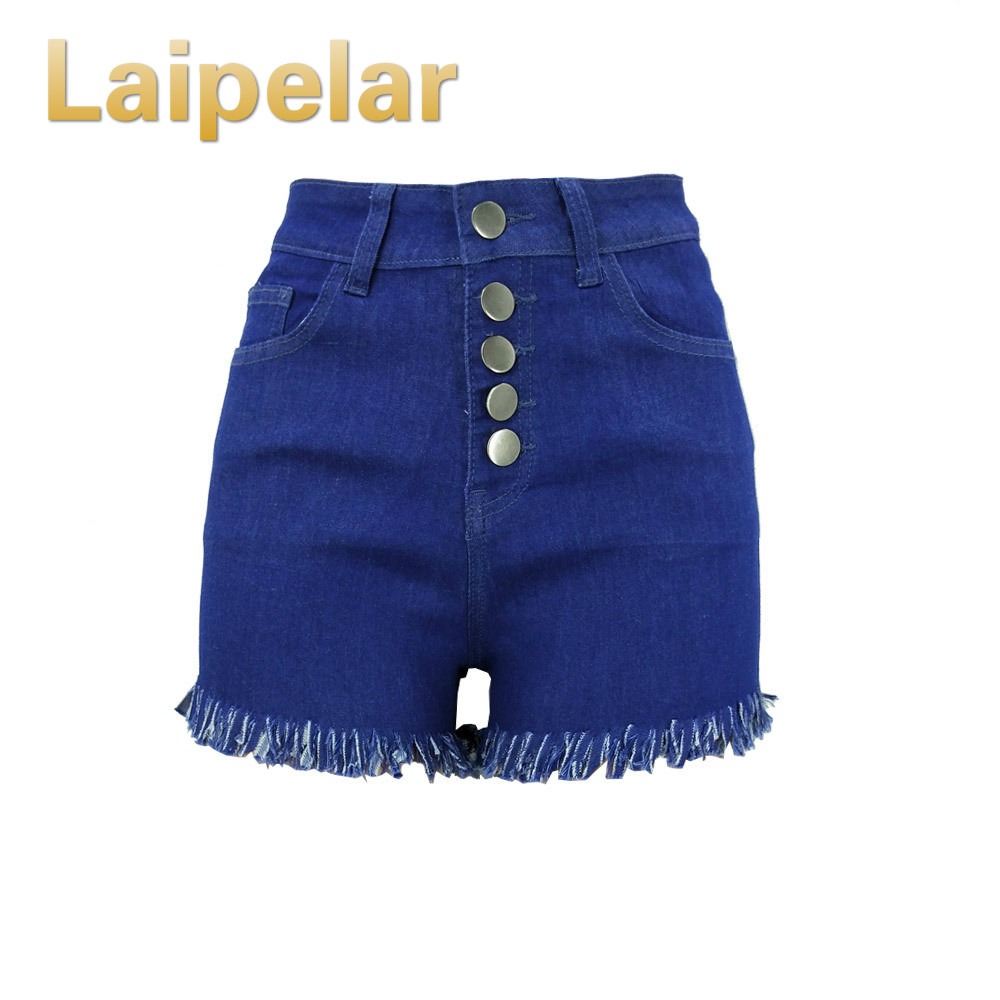 Laipelar Black Denim Shorts 2018 High Waisted Fashion Button Pockets Skinny Women Shorts Summer Sexy Jeans Short