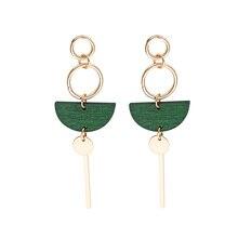2017 Delicate earrings  Accessories Fashion Temperament Earrings Green Wood Fan Long Tassel Brincos For Women Pendientes a suit of delicate sparkling rhinestoned tassel necklace and earrings for women