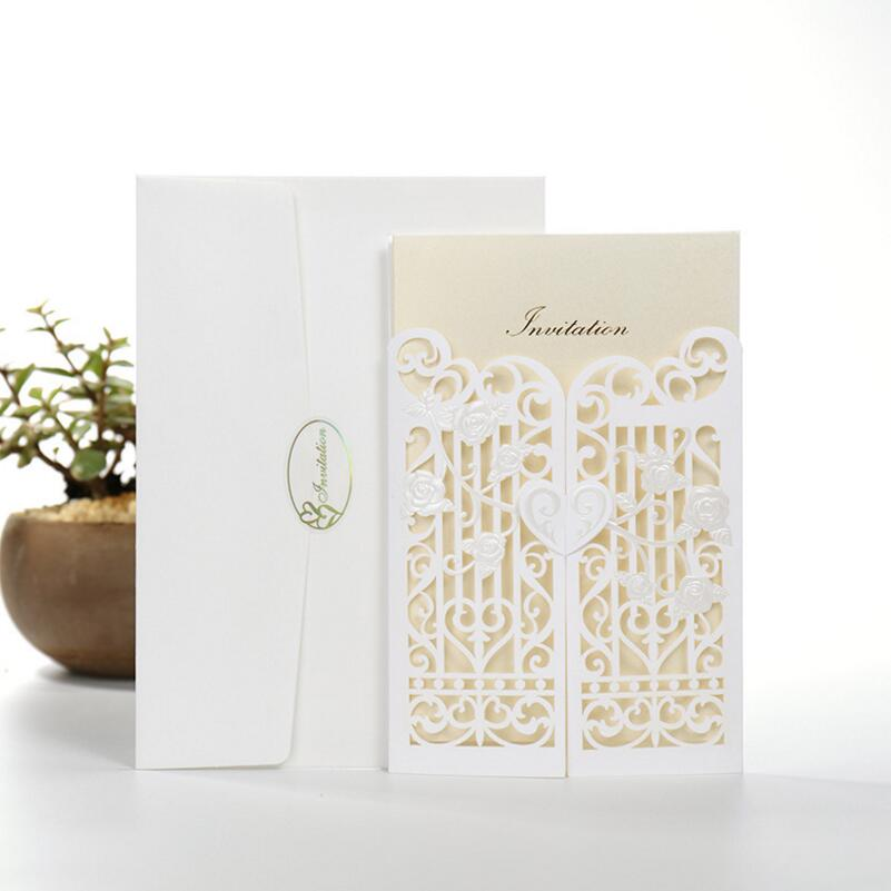 50pcs/pack Fence Gate Paper Wedding Invitation Card White Laser Cut Party Birthday Party Invitation Blank Inside Page customize white laser cut lace ribbons bow wedding invitation kit blank printing invitations card set green inside paper