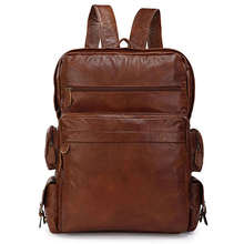 100% Guarantee Excellent Vintage Leather European Style Shoulder Bag Extra Large Backpacks School Direct Selling # 7078B