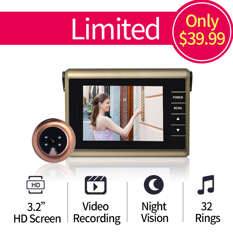 Free Shipping 3 2 inch HD Colorful Screen Video Recording Wireless Door Peephole Camera 0 3
