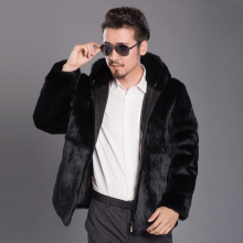 Male Real Fur Coat Men's Winter Rabbit Fur Jacket Outwear Casual Fashion Men Leather Jacket Genuine Fur Hooded Coat