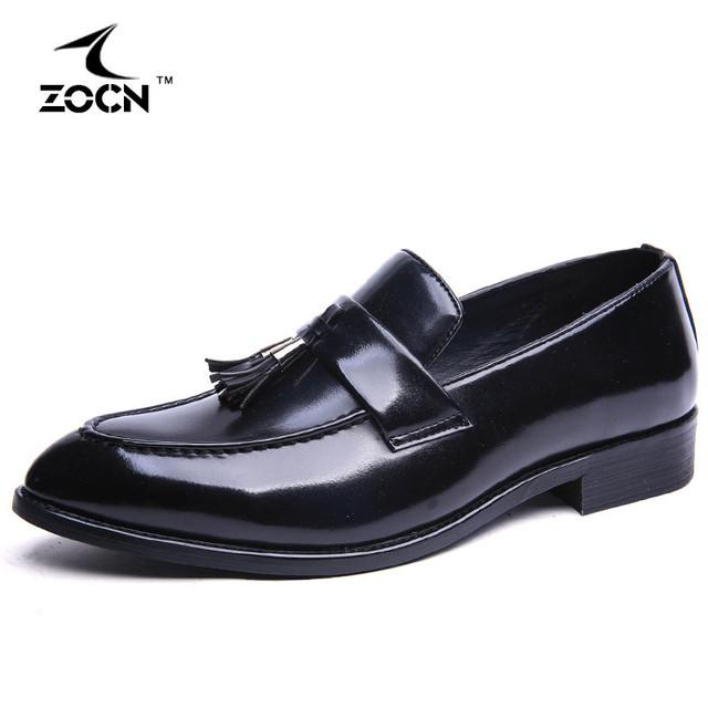 Preto Sapatos de Couro Homens Preguiçosos Homens Flats Sapatos Sartificial Borla Silp Em Oxford Sapatos Para Homens Chaussure Homme 2016
