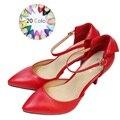 Nuevo 2017 Tamaño 34-41 estilo de las mujeres bombas punta estrecha tobillo-correa de verano suave de piel de Oveja de las mujeres zapatos de tacón alto sandalias zapatos de mujer