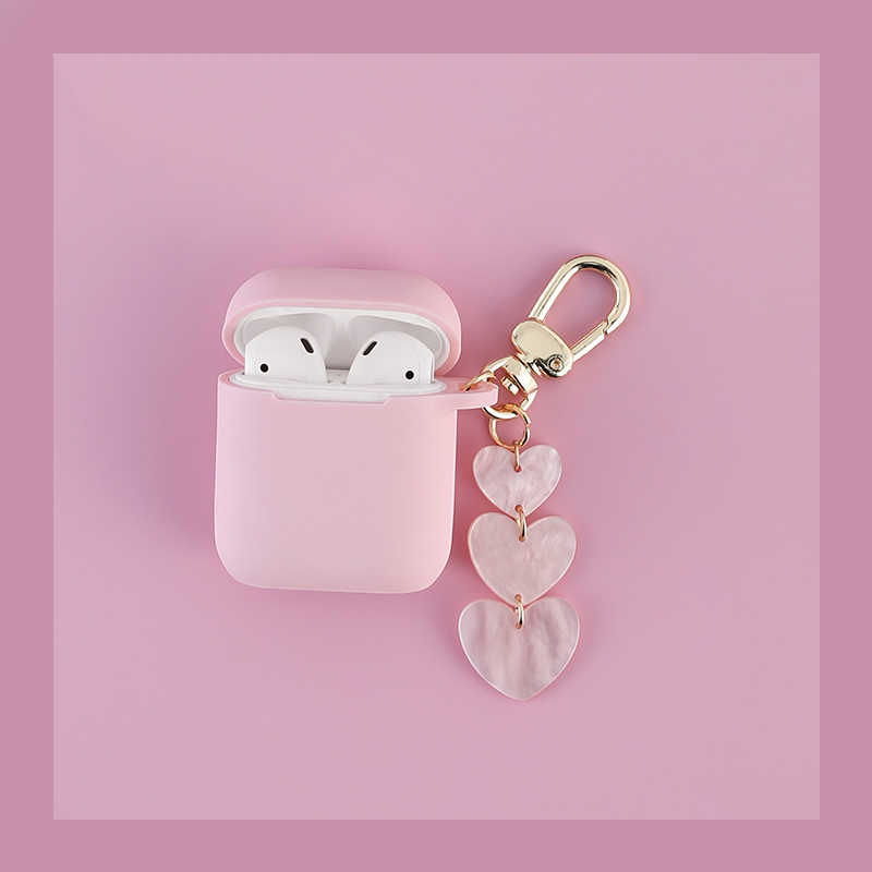 Popular Love keychain Pink color silicone Headphone Earphone Case For Apple Airpods Accessories cover