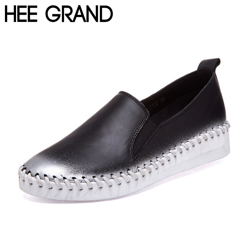 ФОТО HEE GRAND Women Shoes Casual Super  Soft PU Leather Loafers Thick Bottom Slip on Spring Autumn Shoes Woman Plus Size 40 XWC787