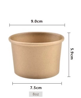 Image 2 - 100PCS/LOT  235ML  9x5.9CM  High grade Kraft Paper Bowl Snack Boxes Disposable Dessert Packing Box(Included Cover)-in Storage Boxes & Bins from Home & Garden
