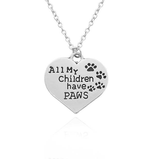 All my children have paws pendant animal footprint heart necklace all my children have paws pendant animal footprint heart necklace pet lover dog paw claw footprint mozeypictures Images