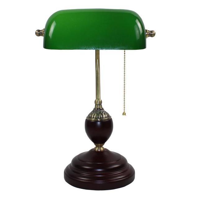 Изумрудно-Зеленый Стеклянный Столик Свет Power Bank Настольная Лампа Офис Красного Дерева Лампе Старинные E27 Лампы Для Чтения Промышленного Ретро Luminarias
