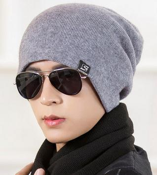 Hat Men winter winter hat Korean version of the couple hooded head cap autumn and winter men and women thicker knitted hat