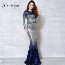 Это YiiYa модное шикарное вечернее платье с длинными рукавами, украшенное панелями, Vestidos, простое вечернее платье русалки с круглым вырезом, H210