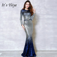 It's YiiYa Fashion Long Sleeve Panelled Bling Dinner Party Dresses Vestidos Simple O neck Mermaid Evening Gowns H210