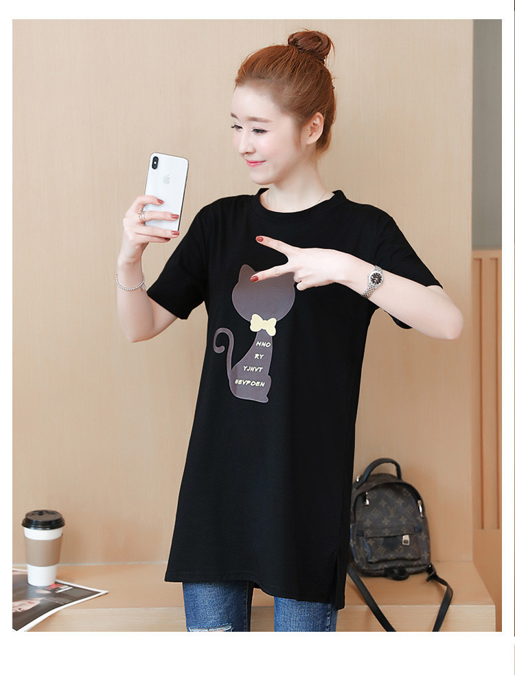 2018 Large size Women T-shirt dress summer Short sleeve Cats print Top Tees Casual O-neck Loose Female Tshirt Plus size 5XL J215 19