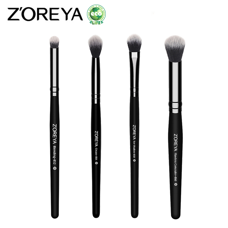 ZOREYA 4pcs Professional Makeup Brushes Eyeshadow Blending Crease Concealer Make Up Brush Cosmetic Brushes Tools Kits Maquiagem zoreya 22pcs makeup brushes professional make up brushes set powder eyebrow foundation blush cosmetic kits pincel maquiagem