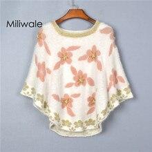 New fashion loosen autumn winter women sweater batwing sleeve printed peal flower cloak