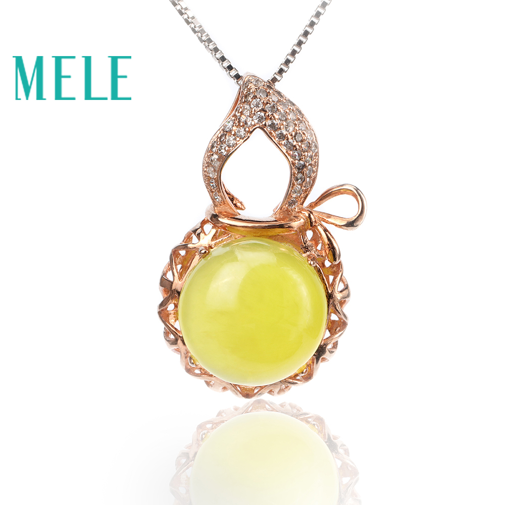Natural yellow prehnite silver pendant , round 12mm*12mm, vivid gourd shape , classical and popular Natural yellow prehnite silver pendant , round 12mm*12mm, vivid gourd shape , classical and popular
