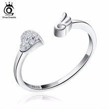 ORSA JEWELS Pure 925 Silver Rings CZ Paved Heart Shape&Angel Wing Rock Rhodium Plated Adjustable Finger Rings for Women SR02