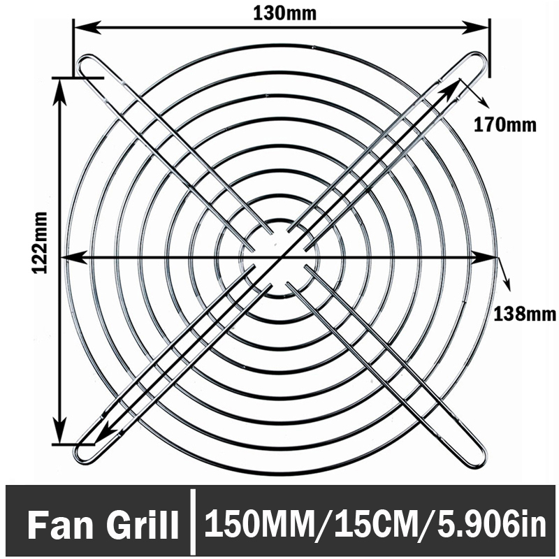4PCS Gdstime Axial 150mm DC Cooling Fan Grill Metal Wire