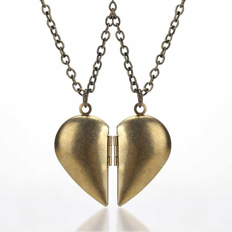 Two Bronze Half Love Necklace Give You The Other Half Or The Best Friend Couple Necklace Best Friend Necklace