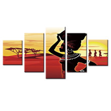 Hot Sales African woman poster 5 piece large canvas print wall art modular painting on decoration pictures(China)