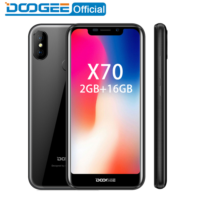 2018 New DOOGEE X70 Smartphone 5.5'' 19:9 MTK6580 Quad Core 2GB RAM 16GB ROM Dual Camera 8.0MP Android 8.1 4000mAh