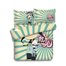 Japan Anime GINTAMA Sakata Gintoki Bed Blanket or Duvet Cover with Two Pillow cases