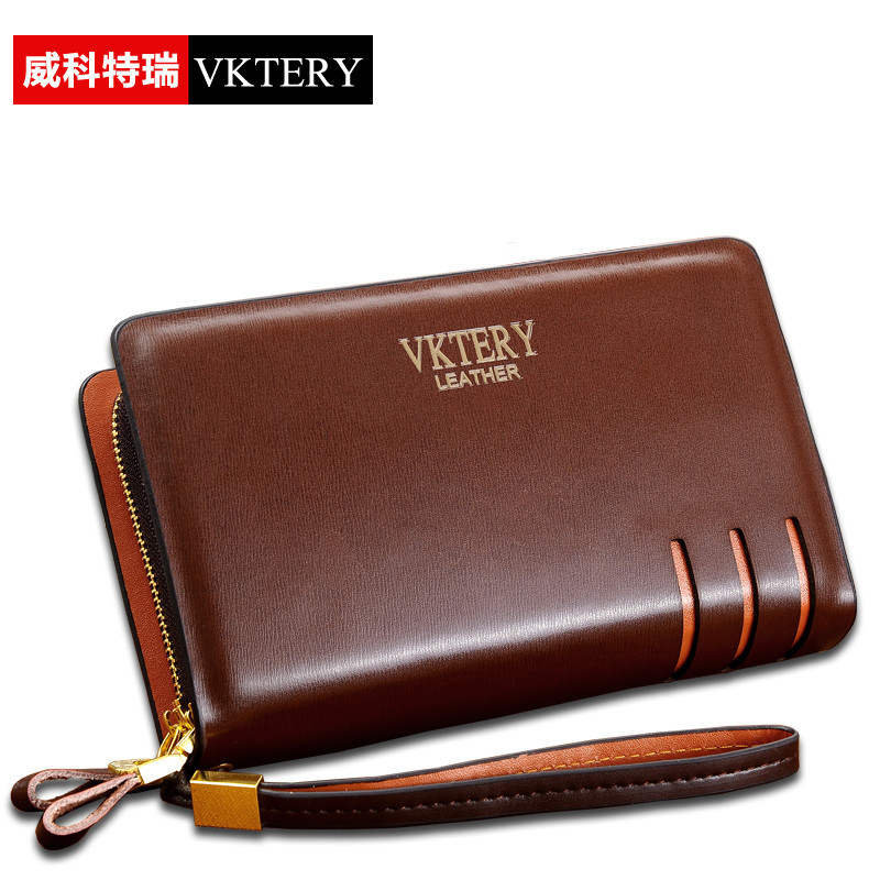 VKTERY Brand Men Luxury Genuine Cowhide Leather Clutch Bag Business Mens Bag Big Capacity Cow Leather Wallet Bolsas Male 2016 2016 famous brand clutch wallet natural cowhide men wallets genuine leather bag classic handbags mens clutch bags big hand bag