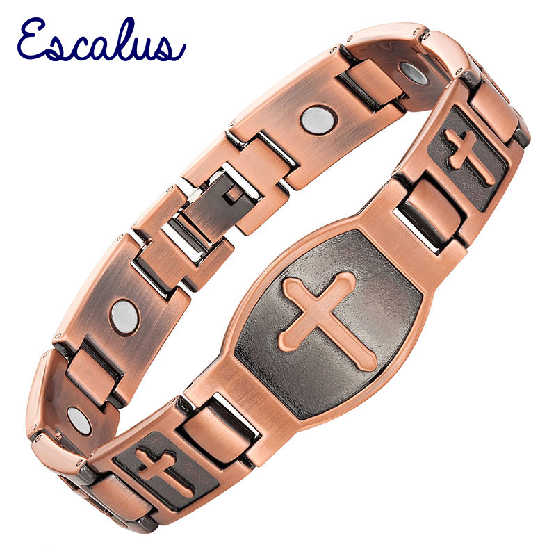 Escalus Cross Pattern Magnetic Bracelet For Men Christian Fashion Antique Copper Charm Bracelet Jesus Christ New Wristband