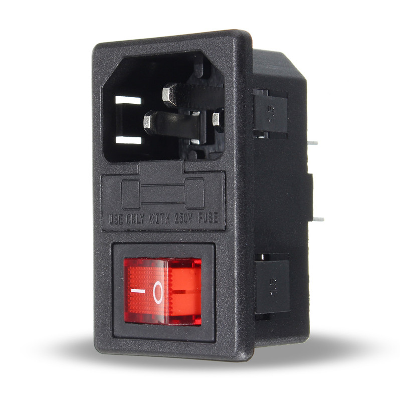 Electrical Sockets Home Improvement Red Lamp Rocker Switch 10a Fuse Holder 10a 250vac 3 Pin Iec320 C14 Inlet Connector Plug Power Socket With Socket Male Connector Always Buy Good