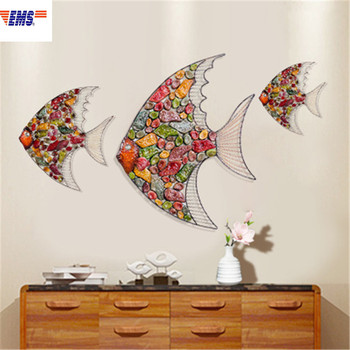 European Style Creative Wall Accessories Hangings Iron Art Fish Stereoscopic Living Room Sofa Background Wall Ornaments X2134