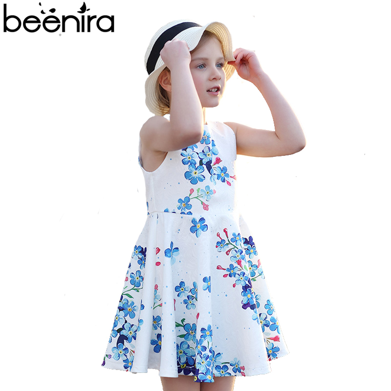 все цены на Summer Flower Girls Dress Kids Pricess Party Vestido Child Blue Print Sleeveless Draped A Line Clothing for 4y-14y High Quality онлайн