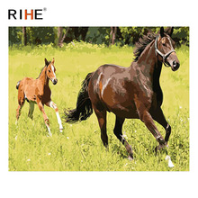 RIHE Horse Running DIY Oil Painting By Numbers Home Decor On Canvas Wall Picture Art for living room Acrylic Paint