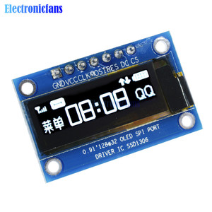 0.91 Inch White OLED LCD Display SPI 128x32 DIY Module SSD1306 Driver IC For Arduino PIC DC 3.3V-5V