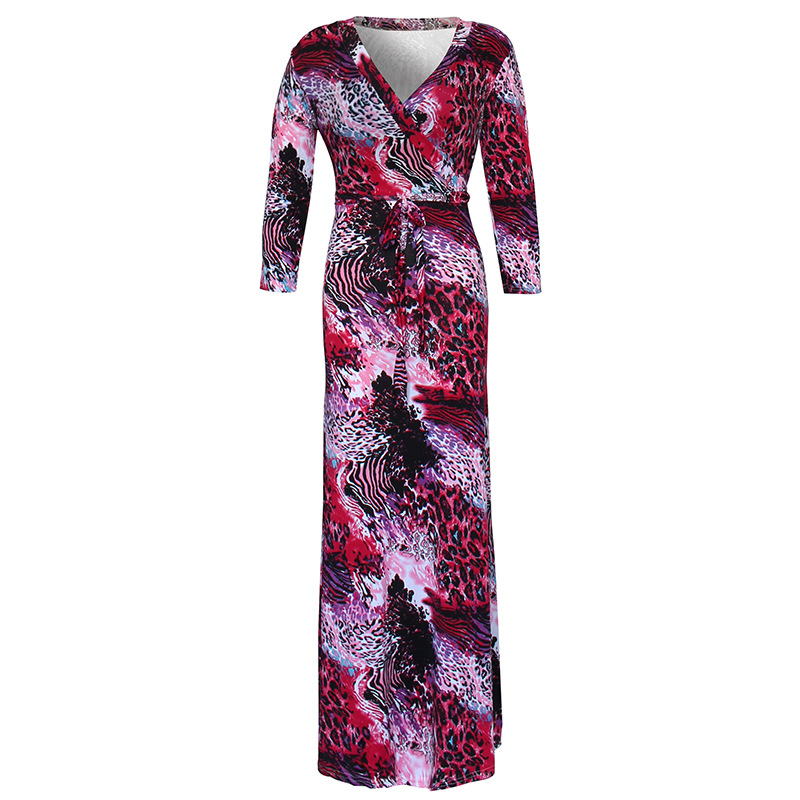 Hot Printed Dress Fashion Plus Size Cotton Long Sleeve Clothed Hot Woman Sexy Club Evening Party Bodycon Maxi Dress Fast Ship