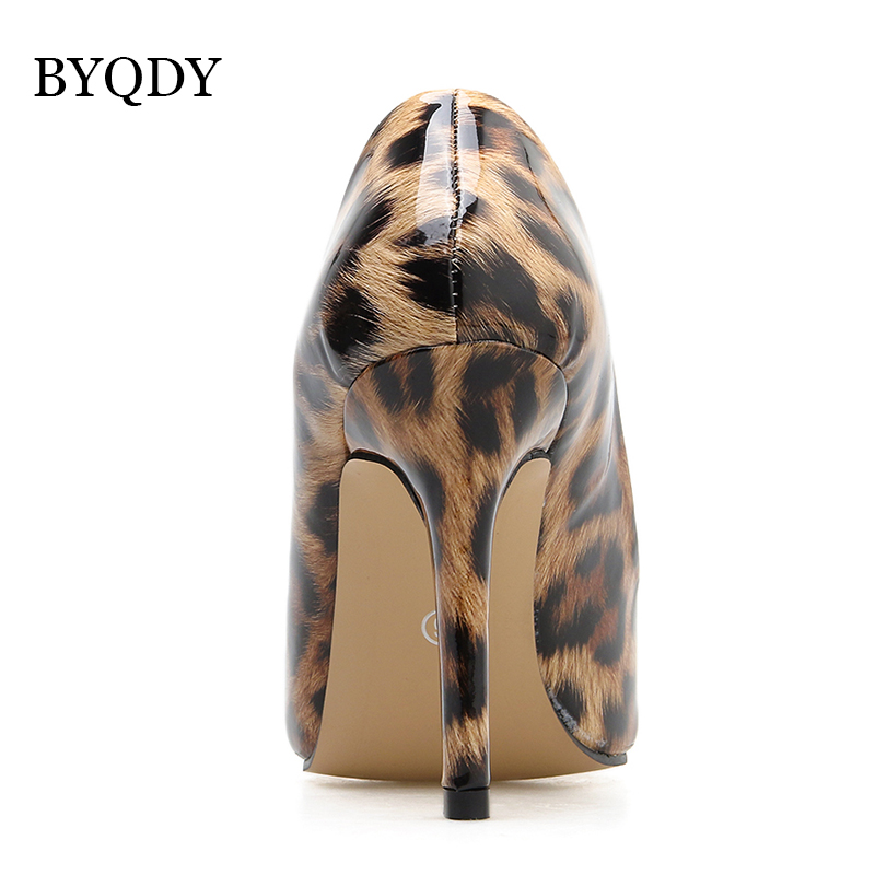 BYQDY Brand New 2019 Leopard Shoes Sexy High Heels Pointed Toe Thin Heel Wedding Lady Dress Shoes Casual Evening Stilettos Gifts