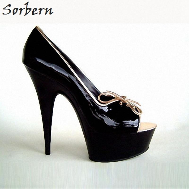 Sorbern Black Patent Women Pumps Stiletto High Heels Thick Heel Ladies Shoes Luxury Women Designer Shoes Ladies Pump Heels
