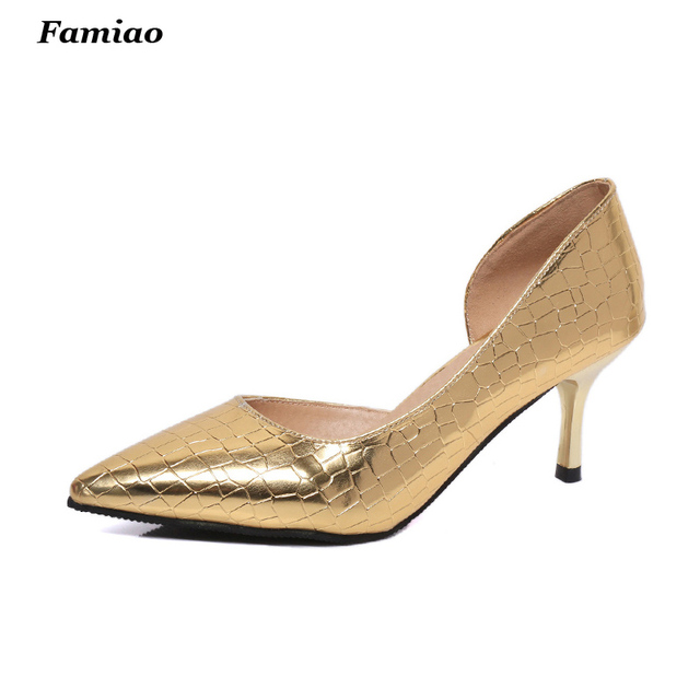 New 2016 Spring Summer Fashion Side Cut outs Shoes Sexy Thin heel Pointed Toe Women Pumps 7.5cm High Heels Party Shoes Woman