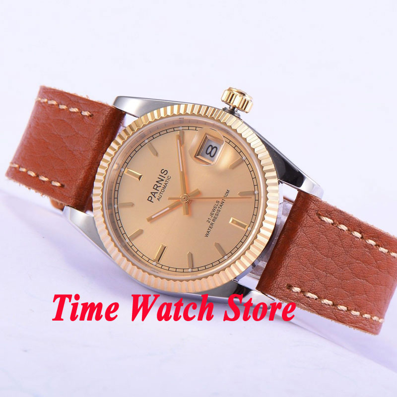Parnis 36mm gold dial date Luminous sapphire glass leather strap 21 jewels MIYOTA Automatic movement Men's watches women 534 36mm parnis dial luminous date window deployment clasp sapphire glass 21 jewels miyota automatic movement women s wristwatch