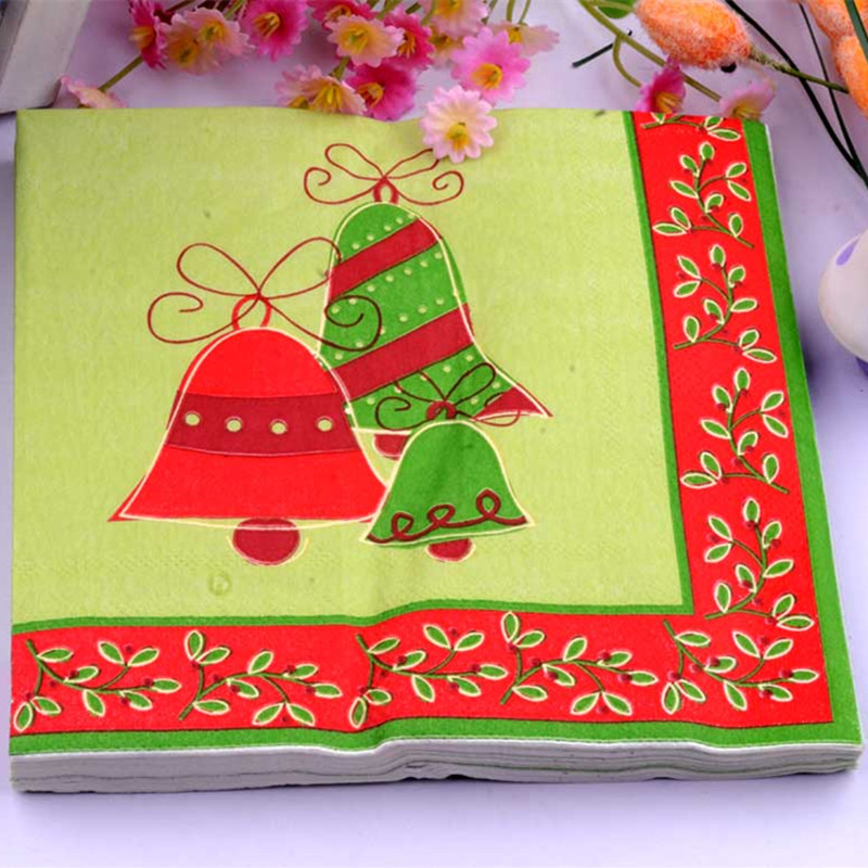 33*33cm 20 PCS/Pack Christmas Jingling Bells Paper Napkin Party 100% Virgin Wood Paper Napkin for party dinner decoration