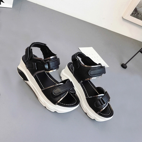 Buckle Leather Sandals Women Spring Summer Thick Bottom Shoes Fashion Casual High Platform Sandals Med Heel Wedges Walk Shoes Islamabad
