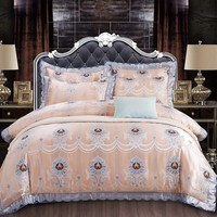 3D Embossed Cotton Damask Brocade Four Piece Cotton 1 8m2 0 Meter Double Bed European Style