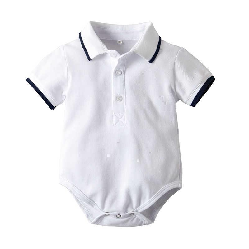패션 신사 아기 jumpsuit 짧은 소매 옷 깃 편지 jumpsuit 유아 소년 romper 점프 슈트 짧은 소매 의류