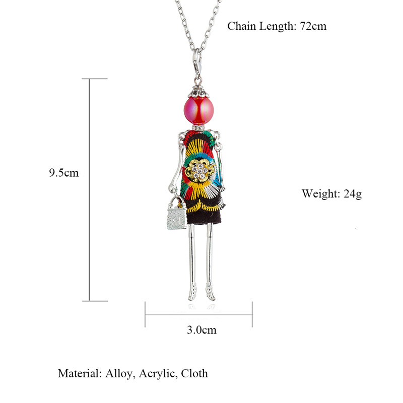 Cute Multicolored Floral Dress Dancing Doll Necklace Handmade French Baby Girl Long Chain Statement Jewelry For Women Kolye in Pendant Necklaces from Jewelry Accessories