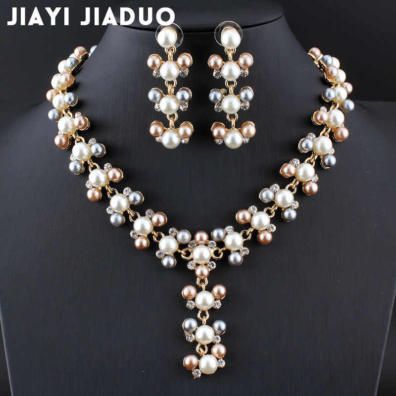 jiayijiaduo Fashion bridal jewelry set imitation pearl gold-color necklace earrings three-color beads design spring for women
