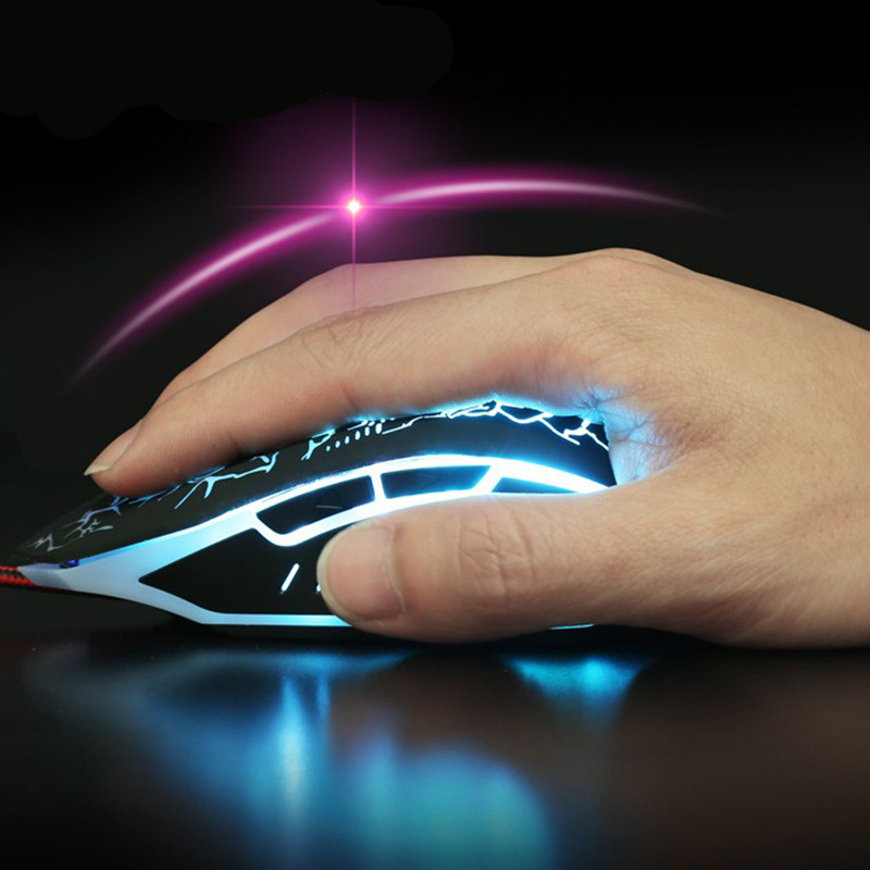 Wired Gaming Mouse 2400dpi Professional USB Mouse Mice Changeable LED Light Mouse For Gamer Comfortable feel 6 Buttons FV1