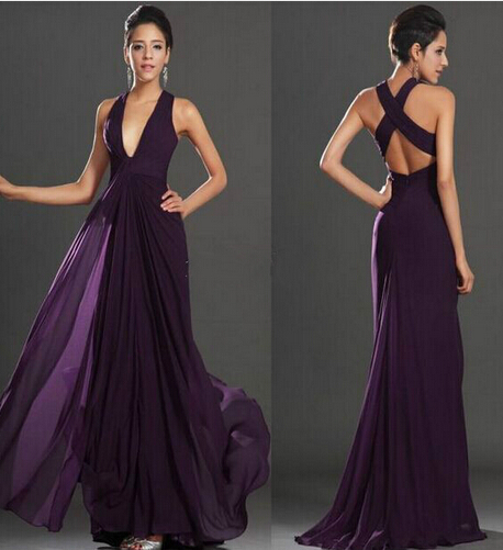 2017 Y Deep V Neck Long Chiffon Bridesmaid Dresses Dark Purple Backless A Line Flowy Wedding Party Dress Prom In From Weddings